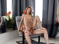 Esperanse is one natural Russian petite that enjoys anal as much as in her tight pussy. Redhead beauty rides a fat cock non stop.