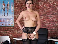 Sexy chick in stockings Charlie Rose takes off uniform and dance