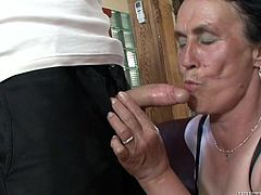 From time to time, when I'm alone and without girlfriend, my neighbour granny Marianna, helps me to satisfy my sexual needs. Well, she is not really pretty, but she knows, how to suck and fuck good. Her saggy tits and hairy cunt even makes me harder. Watch granny sucking my dick with her toothless mouth, passionately. Have fun!