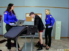 Female officers were feeling horny and Danny, was just the right guy to fuck their pussies. Alison unbuttoned her shirt and teased him with her huge melons. Danny grabbed her tits and sucked on her hard nipples, while Julia started to give him a handjob. After licking the big hard dick, both ladies....