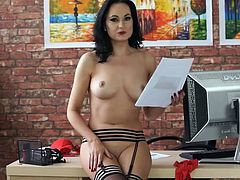 Pretty British girl in sexy stockings reads erotica