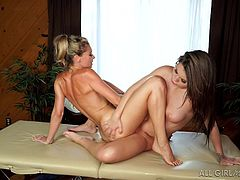 Usually, people who are older and experienced, show younger people different tricks. But this time everything went wrong. Blonde milf Lena Nicole, came to this parlor to get a good, quality massage, but in reality, she got classy lesbian sex, with scissoring and sensual pussy licking, from a young masseuse.