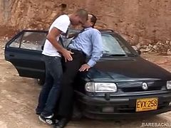 In this group sex scene, older bareback fucking Latino trainer takes two younger gay Latin studs out to an abandoned excavation site and shows them a thing or two about gay bareback fucking on the hood of a car. Its an experience they will not forget anytime soon.