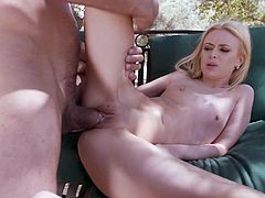 Huge dude fucks petite cunt of lusty flat chested chick Kennedy Kressler