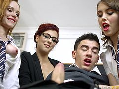 To say that this punishment is strange, is to say nothing. Strict busty teacher in glasses and her two helpers, decided to give one naughty student a lesson of courtesy. Well, a bit unwonted lesson. They sucked his cock one after another and asked him to fuck their holes in turn. Enjoy this horny foursome in the walls of a public school.