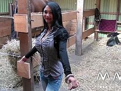 Kim Xxx has one of the best pair of knockers in the business. Petite Asian brunette gets to ride a bog cock in the farmer´s dream, the barn.
