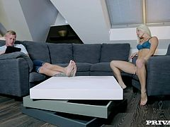 Blanche Bradburry is on holiday with her man and she is horny as hell! This fine ass blonde teases her man with some masturbating and she strips off her lingerie to invite him in...