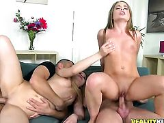 Blonde Alessandra Jane cant resist guys rock hard schlong and takes it in her mouth