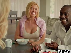 Mature milf Brandi Love, decided to taste big black cock and seduced Joss Lescaf. Her big boobs and perfect round ass made him crazy, and he gently approached her. After sucking his cock for some time, they entered the bedroom, to begin hardcore fucking session. Hot interracial stuff!!!