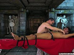 Daddy Mike and his dungeon master assistant Vahn pull the sexy Asian boy Nathan from his cell and strap him down on the tickling rack. Daddy and Vahn go to work on Nathans ticklish body as the Asian gay boy pleads for mercy. Foot tickling is driving him nuts as he shouts in hysterical agony. Feather tickling his feet, Daddy Mike gives the Asian boy a tickle session that will satisfy any tickle fetishists fantasy.