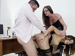 Visit official Babes's HomepageSecretary in heats accepts boss's proposal to have sex with him and another of her office colleagues, an older milf with amazing skills for cock