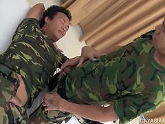 Stefan and Jimmy are two hot sexy Asian soldiers who have bunked together for 3 months in the barracks. The sexual tension between them has built up for that long, and when they finally get a 2 day leave, they hightail it to a hotel and set their gay passions free. These two hotties make love in their fatigues, then piss on each other before getting naked for some incredible bareback fucking.