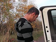 Roman needs some money, so he agrees to jack off on camera for some easy cash. Roman is driven to a country location, where he gets in the back seat and pushes his pants down. After working up a boner, the young man jerks off with determination and finally delivers the money shot.