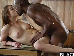 Sex with black guy was always my fantasy, but his cock was very big for my tight pussy. We were alone at home, when he put me on the table, lifted up my dress, and licked my pussy. I was wet and horny, so I let him undress me completely. I sucked his big black cock, and took it inside my pussy.