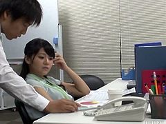 Delicious Japanese office worker getting stuffed on the table