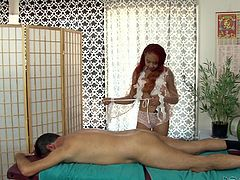 I work in a massage parlour. My new customer gave me extra money and demanded extra erotic massage. This was enough to make me part-time pornstar. I put his hands in my bra, giving him chance to squeeze my natural tits. Then I oiled up his big cock, massaged it gently, and sucked his saggy balls.