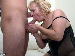 Ever since she became a widow 5 years ago this granny dedicated her life to search for young cocks. Now she lives her life to the fullest. Her mouth and pussy always accommodating fat young dicks of any guy willing to fuck the brains out of this lively granny. Wouldn't you want to fuck her hard?!