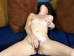 Hairy mature pussy is so hot as she masturbates solo