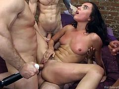My neighbor Roxanne, was alone, so we fucked her in a gangbang. I was drilling her asshole, while my friend was fucking her pussy. She screamed loud in pain, when we shoved both cocks in her cunt together. I was stimulating her clit with vibrator, while my friends were banging her mouth and butt.
