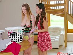 Eva has laundry to do, and Stella is there to help her. While both are good workers, putting them together is a problem. The reason it's a problem, is because they always end up having sex instead, so nothing gets done but each other.