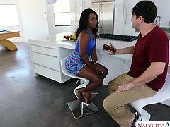 Skyler Nicole is an ebony goddess with amazing tits and incredible ass. She is just to die for. For a long time she wanted to fuck with her best friend's bro. She decided to pay him a visit and show him the pleasure of having a lustful babe, like her. Don't you envy him?!