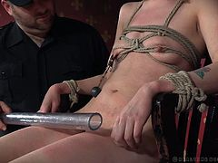 Sierra Cirque needs to be punished for all her wrong doings and a cruel master was assigned to do this job. He tied her to a chair and used different things, starting from leather belts to cylindrical tube to slap her and he even clamped her nipples. Don't miss the full hardcore BDSM session.