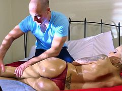 Nina Elle gets working with cock after a sensual massage
