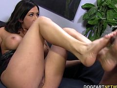 Tory Lane gets her beautiful feet worshipped by Rico's Big Black Cock...