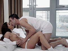 She feels empowered when she grasps that fat dick. Her body trembles, as she puts it in her mouth and starts sucking. She swallows it, until her nose touches his stomach and fat cock becomes lodged deep in her throat, leaving her breathless. She wants his cum. Amirah is truly a goddess!