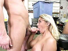 Blonde Kimmy Fabel with giant melons and bald muff makes her dirty dreams a come true with Seth Gambles schlong deep down her throat