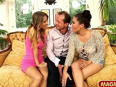 Horny Asian stunning sensation London Keyes and her Euro tiny partner Noell are ready to take on an elder cock and squeeze him dry.