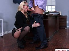 Aj Applegate is one helluva clerk. Who wouldn't love to be her boss? Especially, since we know how grateful she can be. You promote her and she will make your wish come true. Every work day will end with a blowjob. Then you get to pound her tight ass. Gotta love dedicated girls like her!