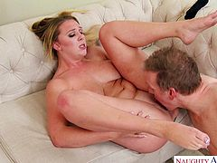 Busty lady Brooke Wylde, amazed her neighbor with an invitation for a hardcore sex. She rubbed lubricant on her big boobs, to make the titjob smoother. Mark rubbed his dick on her nipples, before she gave sensational blowjob. His pussy eating skills made her moan in pleasure and...