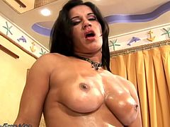 Horny brunette tranny with phat ass and nice juggs is all alone in her bedroom. She splashes the lotion heavily on her tight abs and spreads it along her body until she reaches her thick cock...