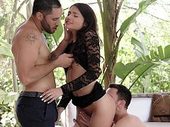 Adria could not decide, whom she like most, so she gave them the fucking challenge. The guy who satisfy her most, would be her boyfriend. Damon quickly grabbed her ass and started to lick it from behind. Seth focused on boobs sucking, while she was massaging his cock gently...
