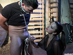 He is a pervert, and he needs to be punished by super sexy Katie Oliver. She grips his cock hard and gags him so he can't scream. She stokes him until he cums on the floor like a loser. She makes all her slaves feel humiliated.