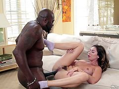 The black stud was really happy after seeing the white babe naked. He started fucking her from behind and the interracial couple tried several sex positions. Her big boobs and soft tender body was crushed against his muscled body and finally, he released his load in her pussy.