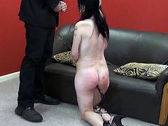 Spanked amateur slaves brutal blowjob and rough whipping of oral submissive Faye Corbin in bruising