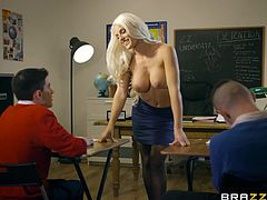Jordi and Sam both got detention, headed by Miss Bradburry. If she ran detention every day, I'd be in trouble all the time. These guys are in for a treat when she starts getting naked, but she blows Jordi first since she got a good response from him.