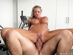 Blonde Courtney Taylor with big knockers cant resist the temptation to take Keiran Lees stiff man meat deep in her mouth