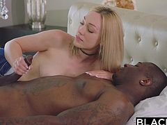 cute blonde takes a huge black cock