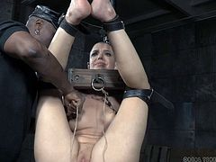 Bald sex slave ravished by a man who wants to punish her