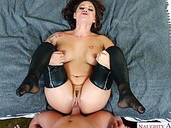 busty housewife rides a long, hard dick