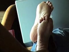 Candid Feet Using laptop