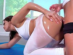 Brunette temptress Kimber Woods gets her bum stuffed by Jean Val Jean the way she loves it after she gives deep blowjob