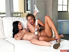 Brunette latina Jamie Valentine with giant jugs and smooth muff has some time to get some pleasure w