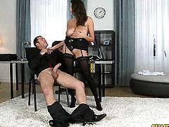 Brunette Sensual Jane and James Brossman have a lot of fun in this blowjob action