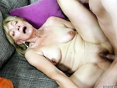 Blonde fulfills her sexual desires with hard dicked guy