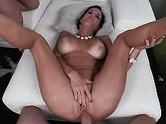 Milf with giant hooters has fire in her eyes as she gets cum sprayed after sex with horny guy