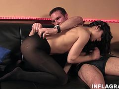 Brunette cuckold wife is looking for cock. She embraces it and makes it cum on her natural milf tits.
